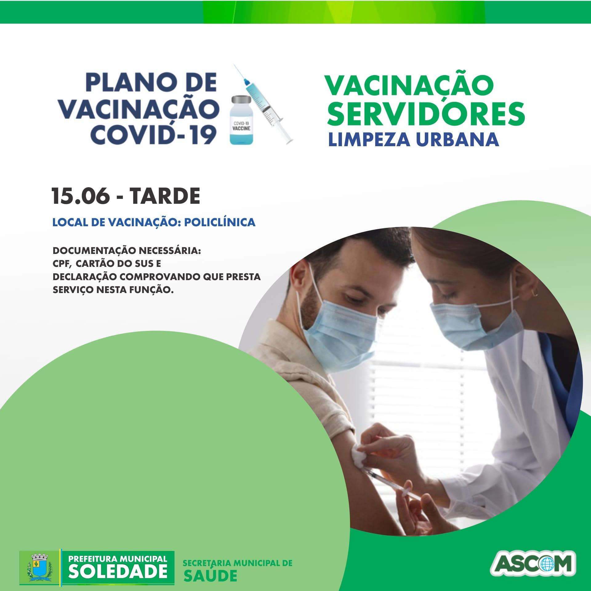 Servidores da Limpeza Urbana serão vacinados nesta terça-feira dia 15