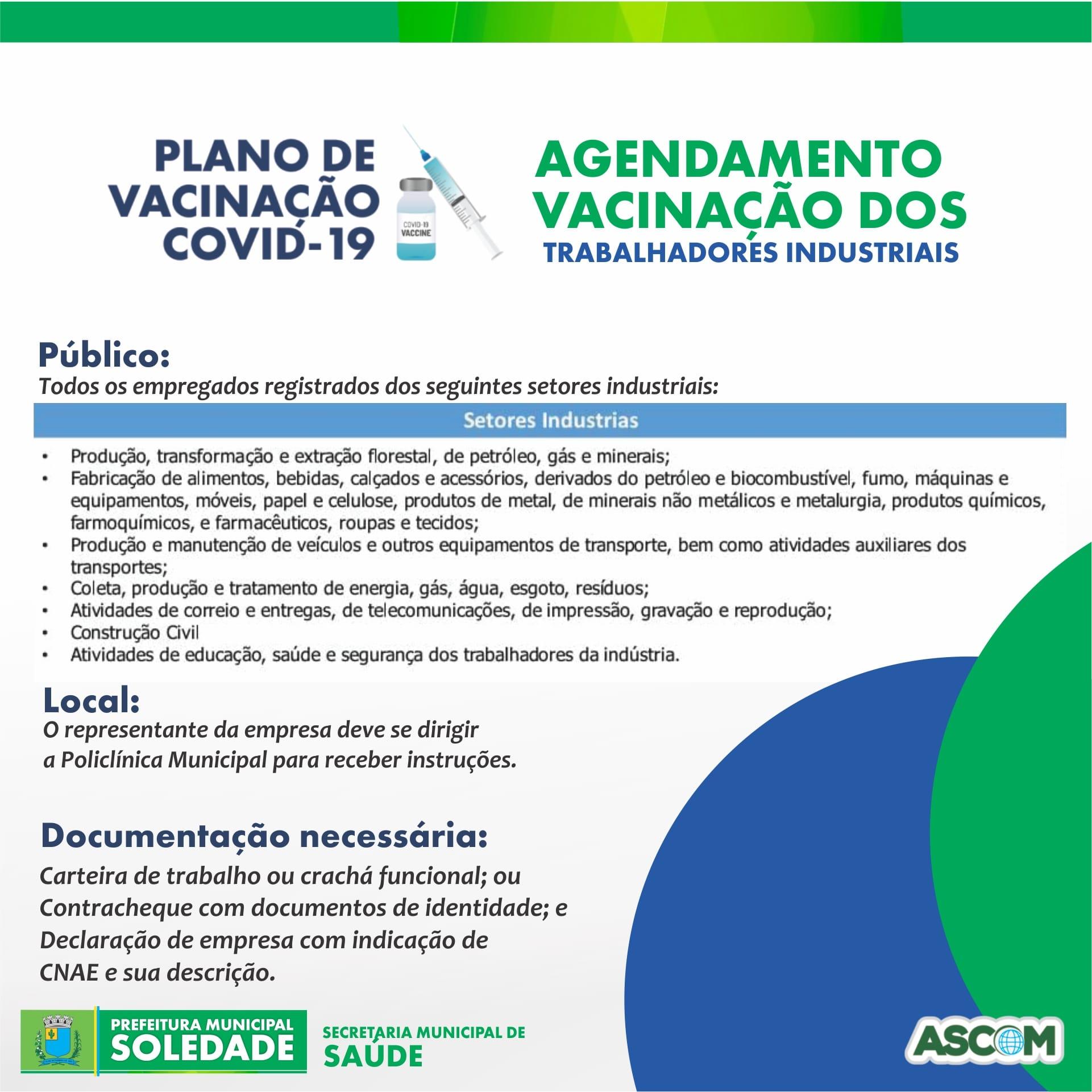 Trabalhadores Industriais deverão agendar a vacinação contra a Covid-19